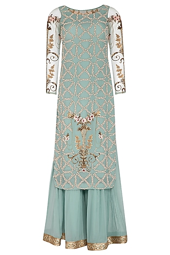 Blue Embroidered Sharara Set by Rachit Khanna