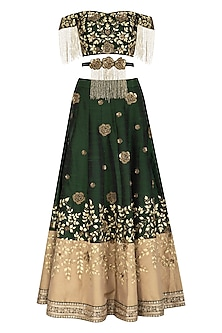 Bottle Green Embroidered Lehenga Set With Belt by Rachit Khanna
