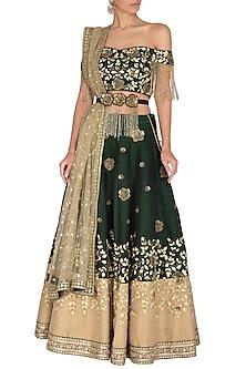 Bottle Green Embroidered Lehenga Set With Belt by Rachit Khanna