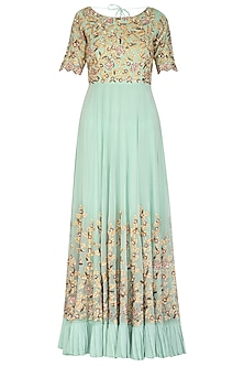 Teal Blue Embroidered Georgette Anarkali Set by Rachit Khanna