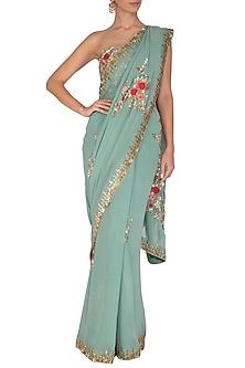 Blue Embroidered Saree Set by Rachit Khanna