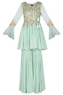 Teal Blue Embroidered Short Anarkali With Gharara Pants by Rachit Khanna