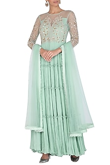 Blue Embroidered Anarkali Set by Rachit Khanna