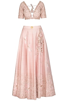 Pink Embroidered Lehenga Set by Rachit Khanna