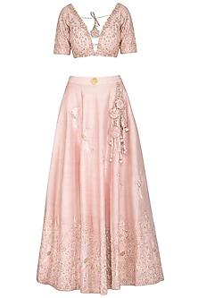 Pink Embroidered Lehenga Set by Rachit Khanna