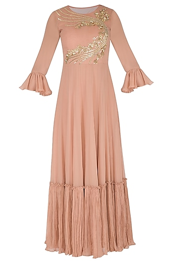 Dusty Pink Embroidered Crinkled Anarkali Set by Rachit Khanna