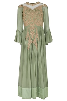 Green Embroidered Crinkled Anarkali Set by Rachit Khanna
