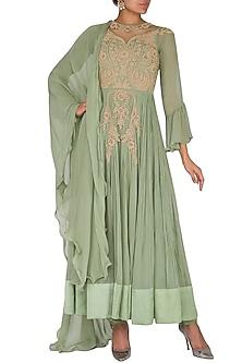 Green Embroidered Crinkled Anarkali Set by Rachit Khanna