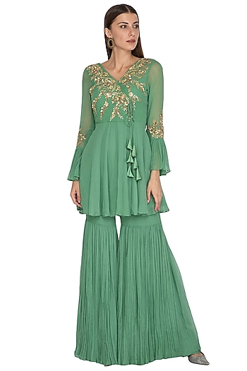Sage Green Embroidered Short Anarkali With Gharara by Rachit Khanna