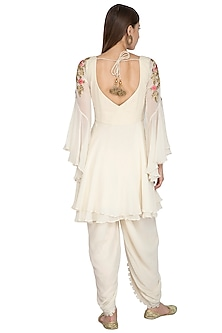 White Embroidered Short Anarkali Set by Rachit Khanna