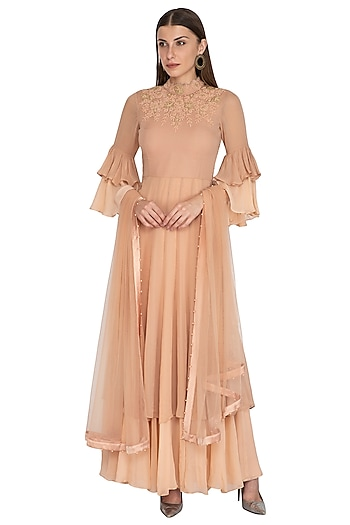 Peach Embroidered Layered Anarkali Set by Rachit Khanna