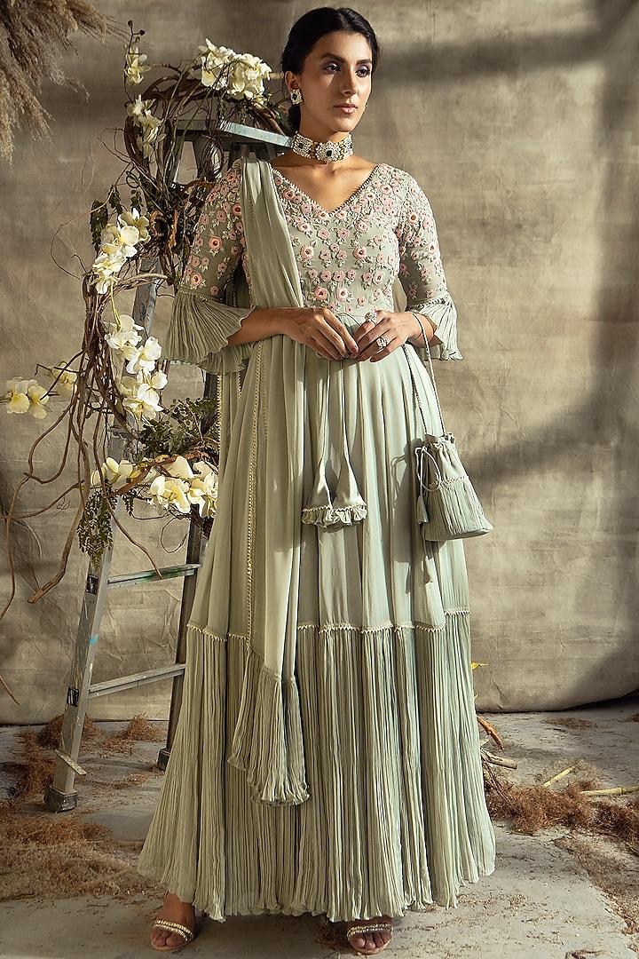 Grey Embroidered Anarkali Set by Rachit Khanna