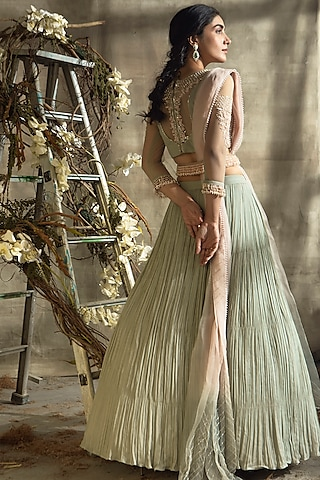 Grey & Blush Pink Embroidered Lehenga Set by Rachit Khanna