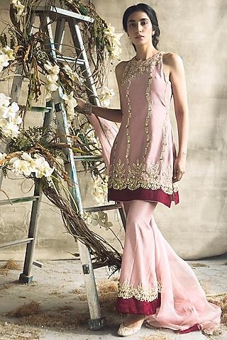 Blush Pink Embroidered Kurta Set by Rachit Khanna