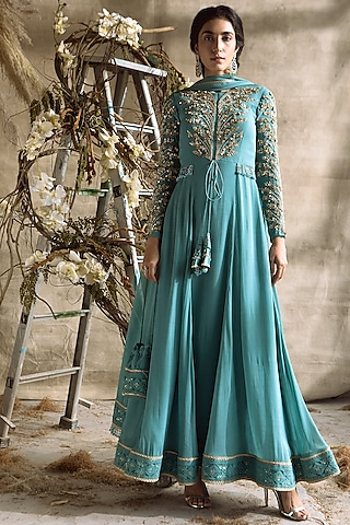 Turquoise Embroidered Anarkali Set by Rachit Khanna
