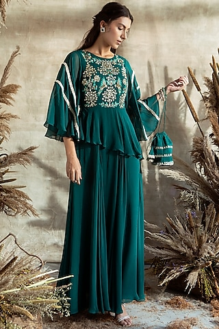 Bottle Green Embroidered Anarkali Set by Rachit Khanna