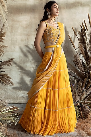 Yellow Embroidered Lehenga Set by Rachit Khanna