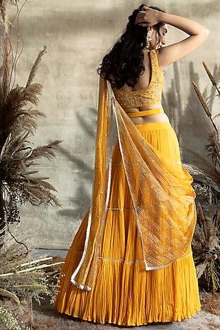Yellow Embroidered Lehenga Set by Rachit Khanna