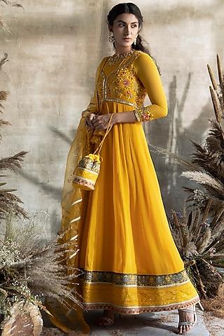 Yellow Embroidered Anarkali Set by Rachit Khanna
