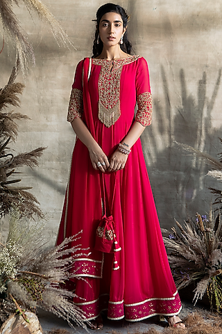 Fuchsia Emboidered Anarkali Set by Rachit Khanna