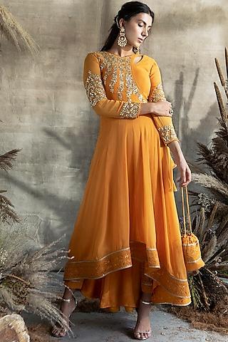 Mango Yellow Embroidered Anarkali Set by Rachit Khanna