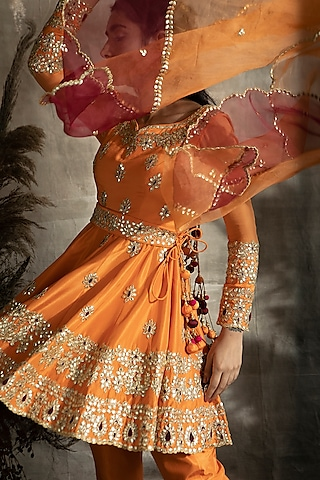 Orange Embroidered Anarkali Set by Rachit Khanna
