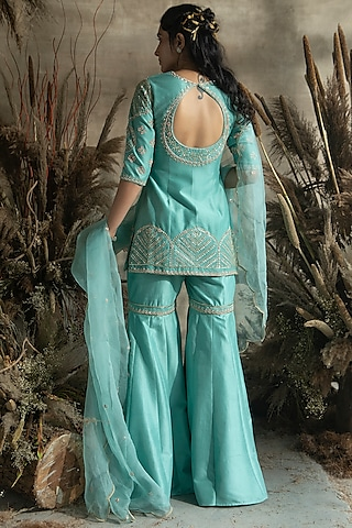 Turquoise Embroidered Gharara Set by Rachit Khanna