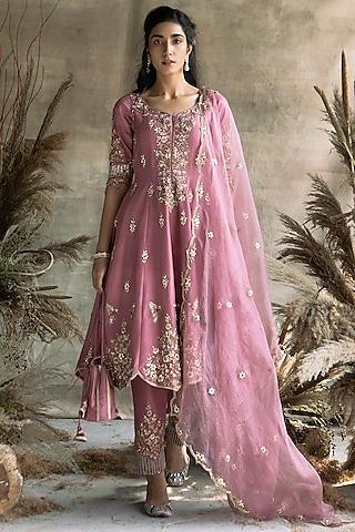 Onion Pink Embroidered Short Anarkali Set by Rachit Khanna