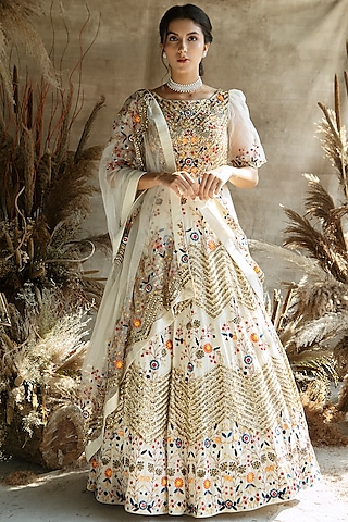 Ivory Sequins Embroidered Anarkali Set by Rachit Khanna