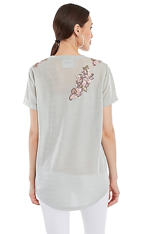 Mint Green Embroidered T-Shirt by Rocky Star