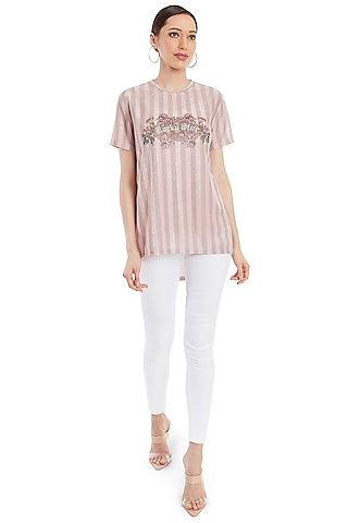Blush Pink Embellished T-Shirt by Rocky Star