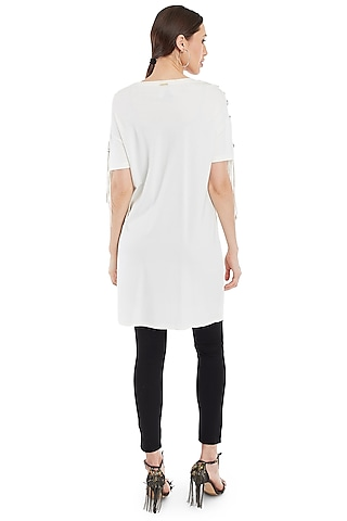 White Embellished T-Shirt With Tassels by Rocky Star
