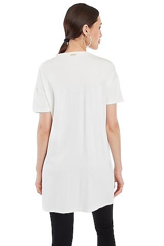 White Crystals Embellished T-Shirt by Rocky Star