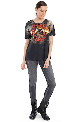 Black Printed Cotton T-Shirt by Rocky Star