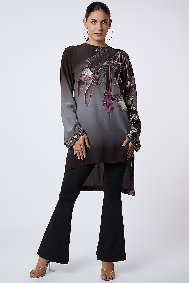 Grey Floral Printed Tunic by Rocky Star
