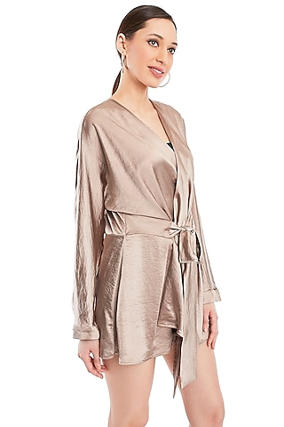 Beige Overlapped Dress by Rocky Star