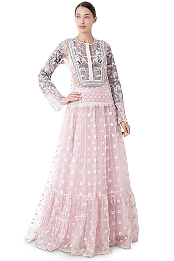 Blush Pink Floral Embroidered Tunic Set by Rocky Star