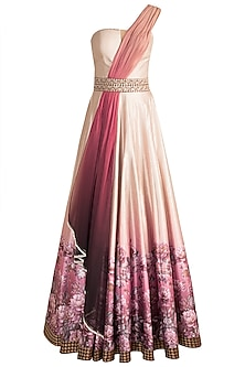 Beige Digital Printed & Embroidered Gown by Rocky Star