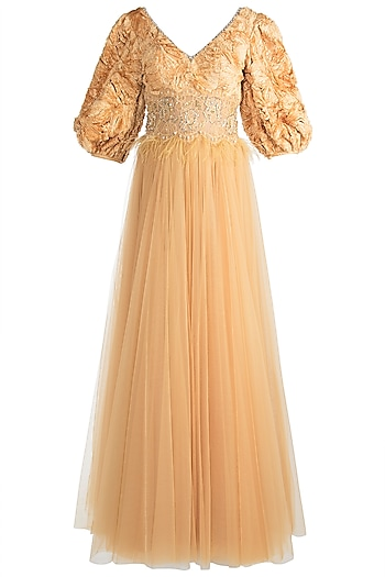 Golden Yellow Embroidered Gown by Rocky Star