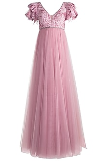Pink Embroidered Gown by Rocky Star