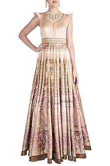 Dark Beige Digital Printed & Embroidered Gown by Rocky Star