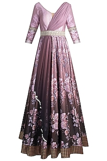 Pink Digital Printed & Embroidered Gown by Rocky Star