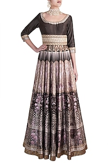 Brown Digital Printed & Embroidered Gown by Rocky Star