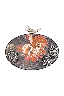 Multi Colored Embroidered Printed Oval Clutch by Rocky Star