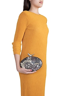 Multi Colored Printed Embroidered Oval Clutch by Rocky Star