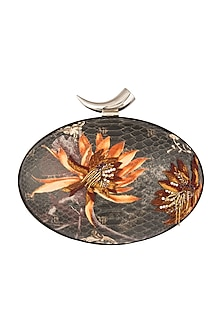 Multi Colored Embroidered & Printed Oval Clutch by Rocky Star