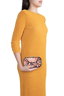 Multi Colored Embroidered & Printed Square Clutch by Rocky Star