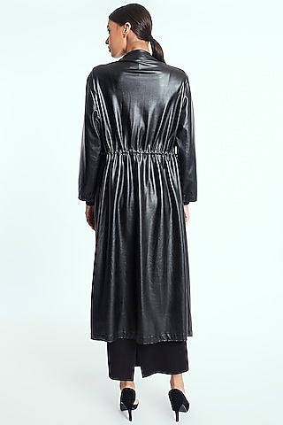 Black Leather Long Cape by Rocky Star