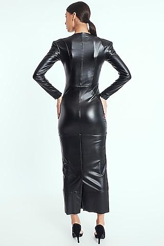 Black Faux Leather Dress by Rocky Star