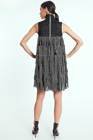 Black Mini Dress With Crystal Suede Tassels by Rocky Star
